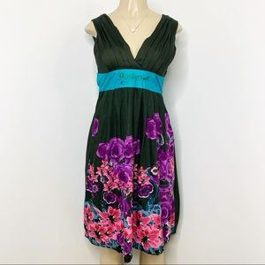 DESIGUAL Army Green Floral Cotton Dress Bow Sz XS
